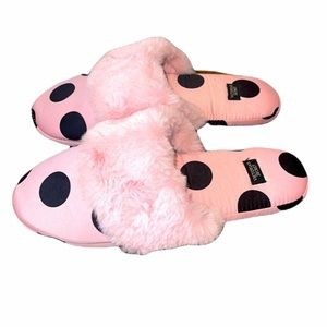 Victoria's Secret Pink & black polka dot slippers